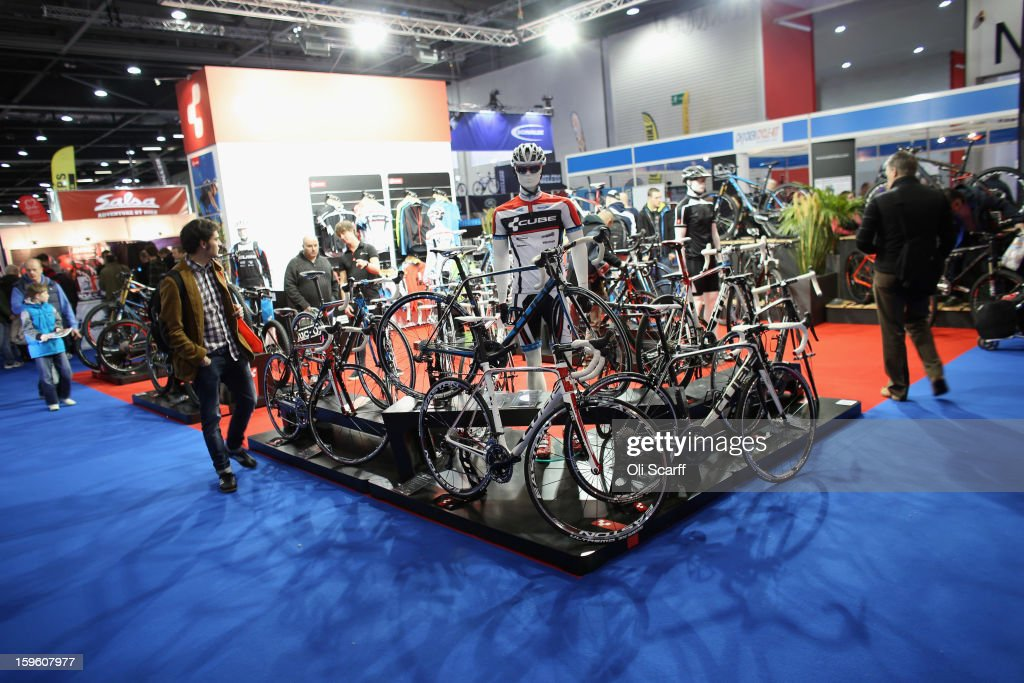 The Cube bike stand at the London Bike Show which is being held in the ExCeL Centre on January 17, 2013 in London, England. The ExCeL centre is hosting The Outdoors Show, the London Bike Show and the Active Travel Show which run until January 20, 2013 and features manufacturer trade stalls, speeches, demonstrations and areas where visitors can climb or ride bikes.