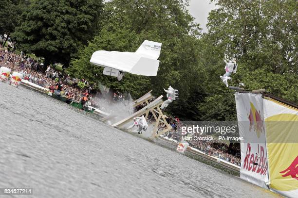 The Cullinan Bird team launch their flying machine into the Serpentine Lake in Hyde Park London at the Red Bull Flugtag London 2008 competition