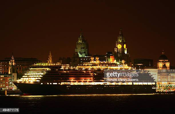 The Cunard Liner MS Queen Victoria berths on May 30 2014 in Liverpool United Kingdom The vessel was moored 100 years to the day from where her Cunard...