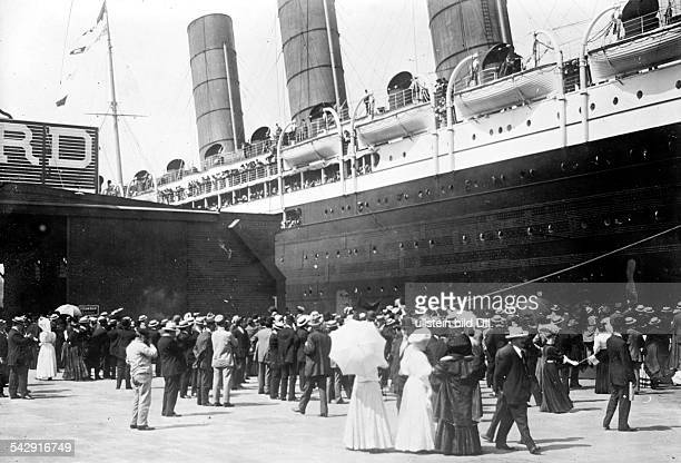 LUSITANIA 1907 The Cunard ocean liner Lusitania at the pier in New York City 13 September 1907