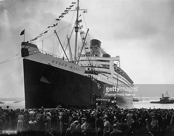 The Cunard White Star liner Queen Mary leaving the dock at Southampton on her maiden voyage 27th May 1936