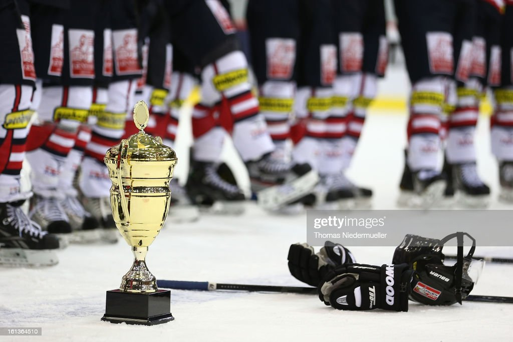The cup is seen after the Olympic Icehockey Qualifier match between Germany and Austria on February 10, 2013 in Bietigheim-Bissingen, Germany.