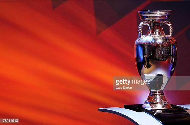 The cup is seen during the UEFA EURO2008 Final Draw at the KKL on December 2 2007 in Lucerne Switzerland