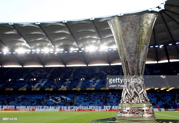 The cup is seen prior to the UEFA Europa League semi final first leg match between Hamburger SV and Fulham at HSH Nordbank Arena on April 22 2010 in...
