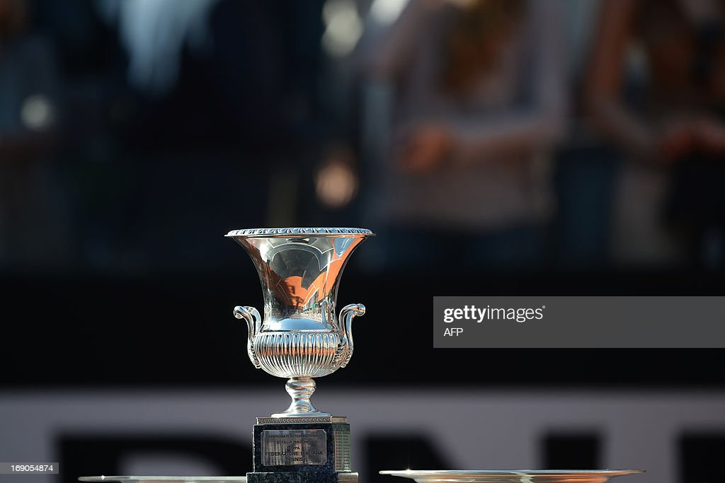 The Cup of the ATP Rome Masters is displayed during the final on May 19, 2013. Nadal crushes Federer 6-1, 6-3 to win seventh Rome title.