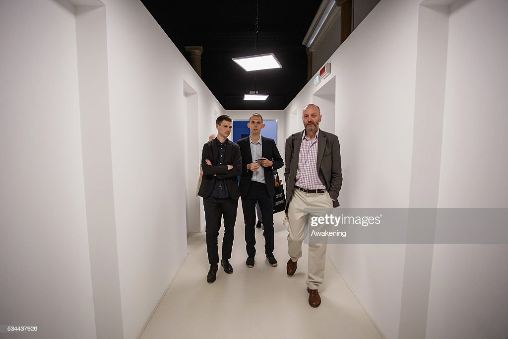 The curators Finn Williams and Jack Self attend at the opening of the UK Pavillion at the Venice Biennale on May 26, 2016 in Venice, Italy. The 15th International Architecture Exhibition of La Biennale di Venezia will be open to the public from May 28 to November 27 in Venice, Italy.