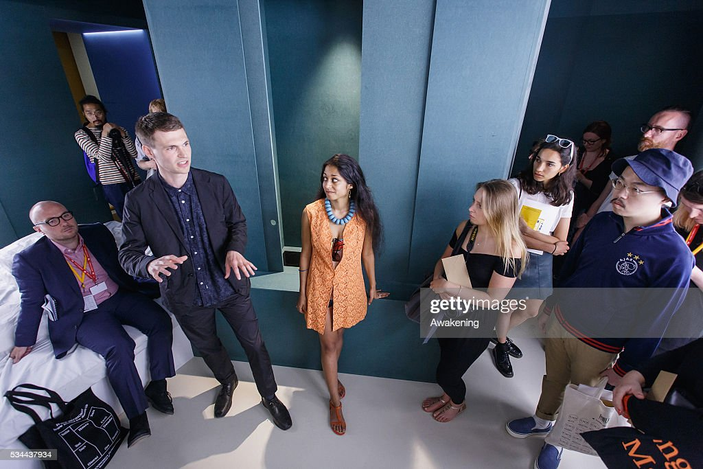 The curators Finn Williams and Shumi Bose attends at the opening of the UK Pavillion at the Venice Biennale on May 26, 2016 in Venice, Italy. The 15th International Architecture Exhibition of La Biennale di Venezia will be open to the public from May 28 to November 27 in Venice, Italy.