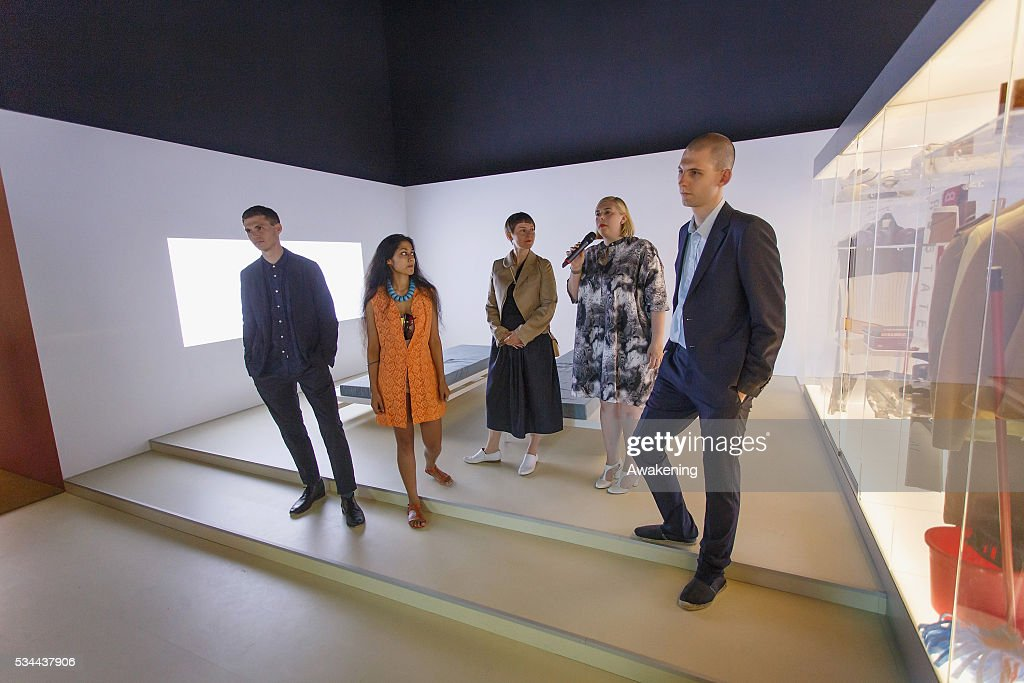 The curators Finn Williams, Shumi Bose and Jack Self attends at the opening of the UK Pavillion at the Venice Biennale on May 26, 2016 in Venice, Italy. The 15th International Architecture Exhibition of La Biennale di Venezia will be open to the public from May 28 to November 27 in Venice, Italy.