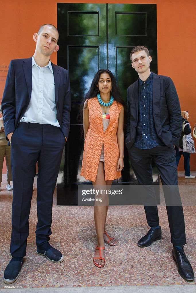The curators Jack Self, Shumi Bose and Finn Williams pose during the opening of the UK Pavillion at the Venice Biennale on May 26, 2016 in Venice, Italy. The 15th International Architecture Exhibition of La Biennale di Venezia will be open to the public from May 28 to November 27 in Venice, Italy.
