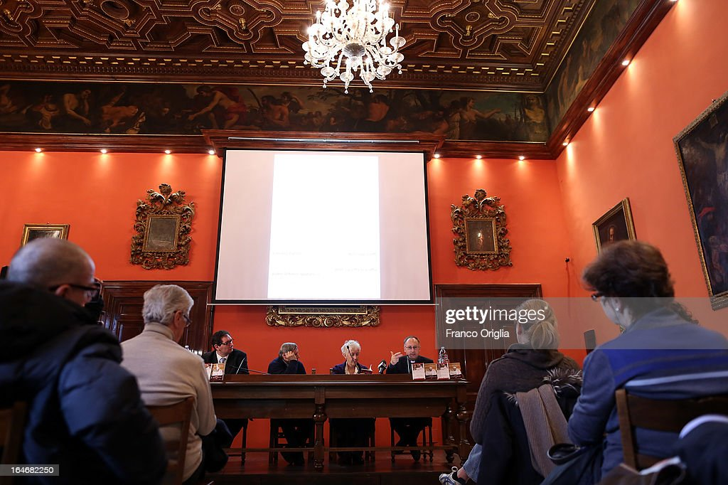 The Curci Hall of the offices of the Jesuit periodical 'La Civilta Cattolica' during the presentation of the first two books by newly elected Pope Francis on March 26, 2013 in Rome, Italy. 'Guarire dalla corruzione' (Recovering from Corruption) and 'Umilta, la strada verso Dio (Humility: The Road towards God) are the titles of the first two books written by the Pope Francis and published in Italian. Both texts were written in Spanish in 2006 when he was Archbishop of Buenos Aires, drawing upon the spirituality expressed by St. Ignatius of Loyola in his 'Spiritual Exercises' to describe the profound mechanism of corruption in society, including the Church, and to note solutions, among which is the need for an ecclesial life characterized by fraternal charity.