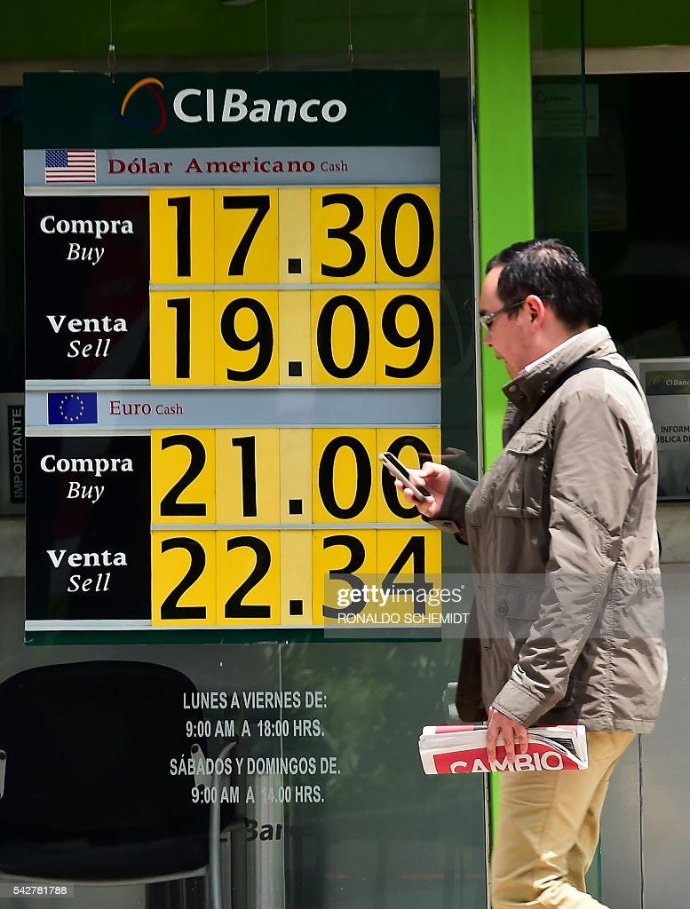 The currency board of a bank shows the dollar exchange rate, in Mexico City, on June 24, 2016. The Mexican currency fell 3.12% on Friday to close at 19.25 pesos per dollar against the 18.65 on Thursday, according to private bank Banamex, infected by the nervousness of the markets after the vote in United Kingdom to leave the European Union. / AFP / RONALDO