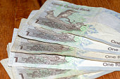 The Currency of the Qatar Riyal notes spread out on the table. Ones. Money exchange. Bee-eater and lark.