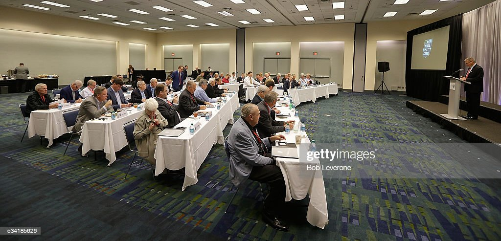 The current voting members of the NASCAR Hall of Fame meet to consider the newest candidates for induction at NASCAR Hall of Fame on May 25, 2016 in Charlotte, North Carolina.