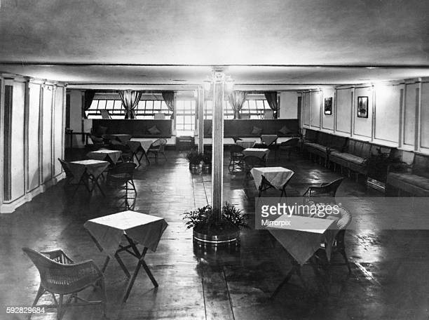 The curtains on to the promenade deck were of fine Cambridge blue The seating arrangements were of small tables and the chairs were constructed of...