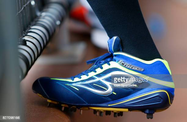 The custom baseball cleats of Miami Marlins outfielder Ichiro Suzuki during the MLB game between the Atlanta Braves and the Miami Marlins on August 6...