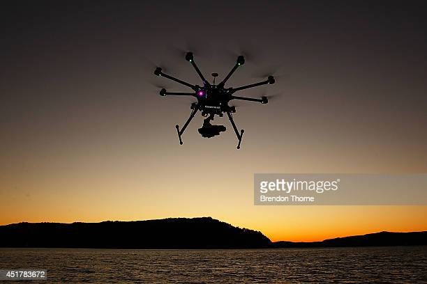 The custom built DJI s1000 Drone in operation at Palm Beach on July 4 2014 in Sydney Australia Commercial and recreational UAV sales in Australia...