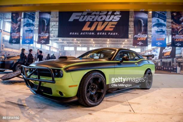 The custom Offroad Dodge Challenger used on screen in Furious 7 seen during the 'Fast Furious Live' media launch day event which featured the most...