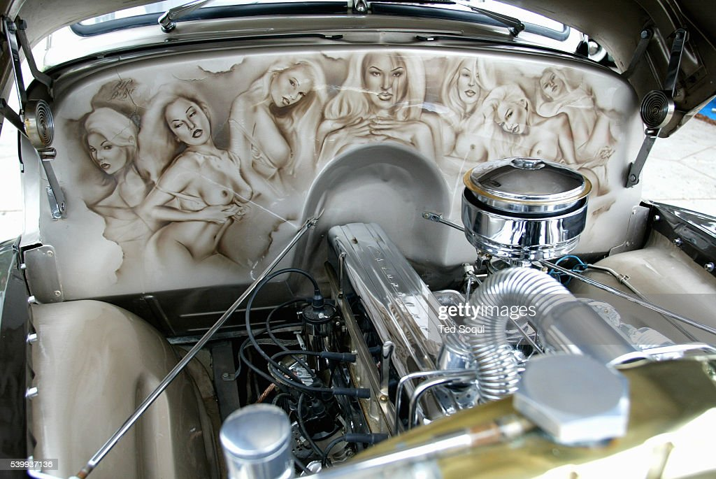 the custom paint job inside an engine compartment of a. Black Bedroom Furniture Sets. Home Design Ideas
