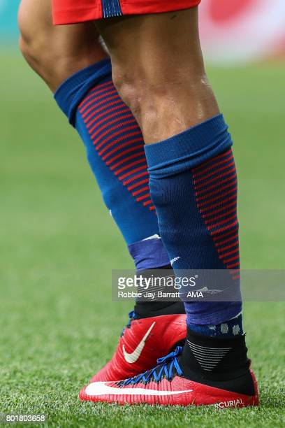 The customised Nike Mercurial Football boots of Alexis Sanchez of Chile during the FIFA Confederations Cup Russia 2017 Group B match between Chile...