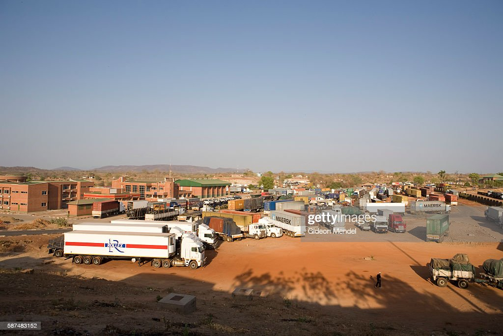 The customs yard near the border post in Chirundu on the border of Zambia and Zimbabwe It is a transit point on the trucking route from South Africa...