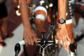 The cuts and bruises of Luxembourg cyclist Andy Schleck of Cervélo TestTeam are viewed while he pauses at the start of the team presentations for the...