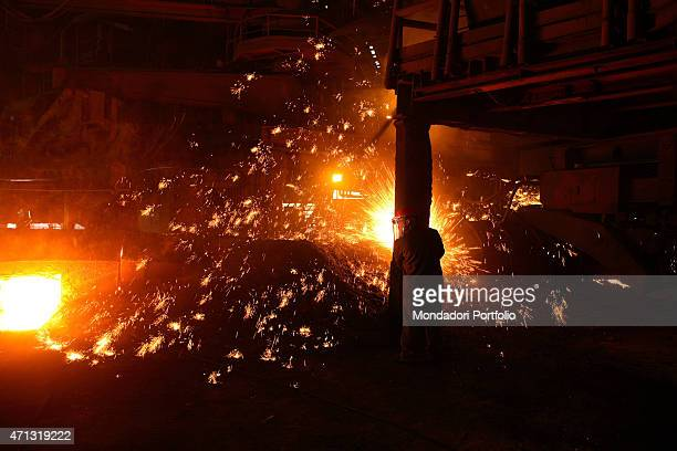 The cutting by pipe at the Ilva iron and steel plant in Taranto during a photo shooting Taranto Italy 14th November 2006