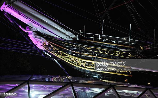 The Cutty Sark in Greenwich turns pink in the lead up to Breast Cancer Campaign's wear it pink on October 23 2013 in London United Kingdom