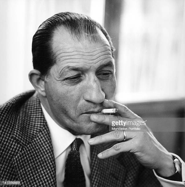 The cyclist Gino Bartali smoking a cigarette Florence March 1963
