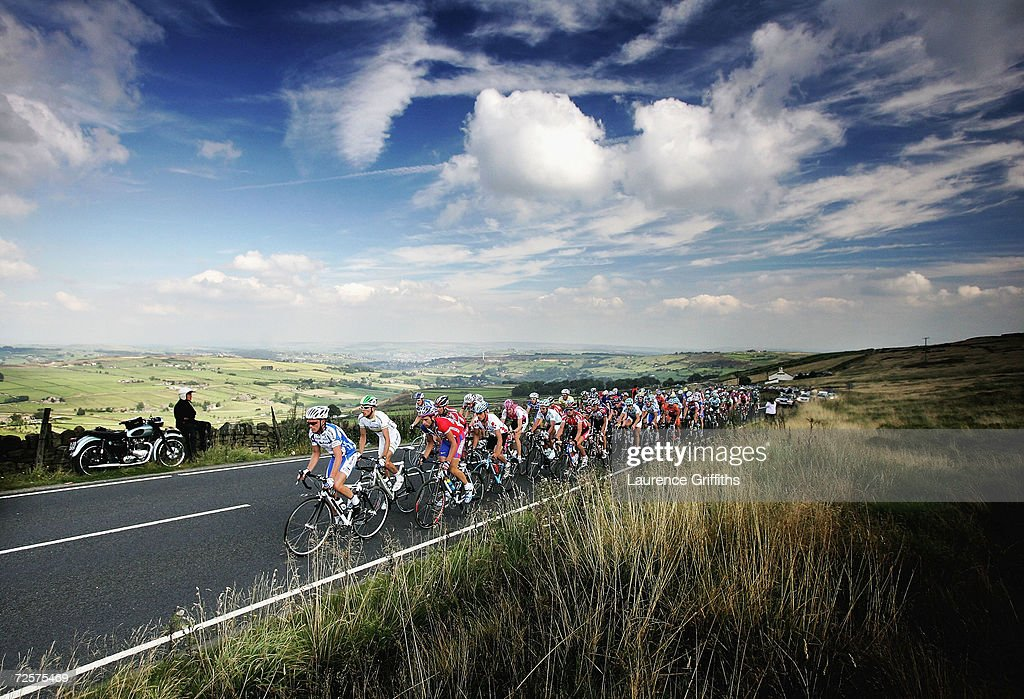 The Cyclists of The Tour of Britian pass over the Pennines into Hebden Bridge during the cycling event on September 2 2004 in Hebden Bridge England