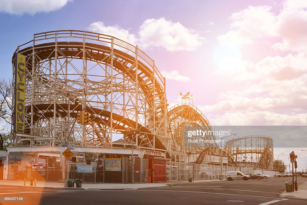 The Cyclone Roller Coaster in Coney Island, Brooklyn, New York City.