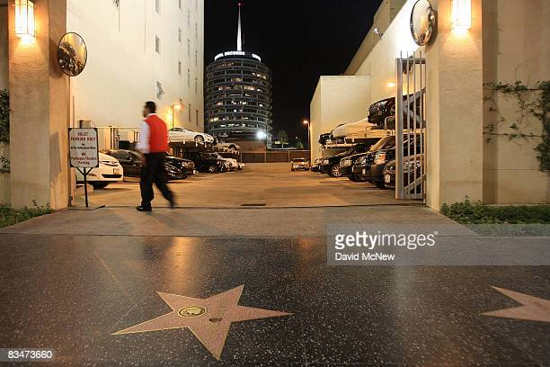 The cylindricallyshaped Capitol Records building is seen behind a valet parking lot near the Hollywood landmark intersection of Hollywood and Vine on...