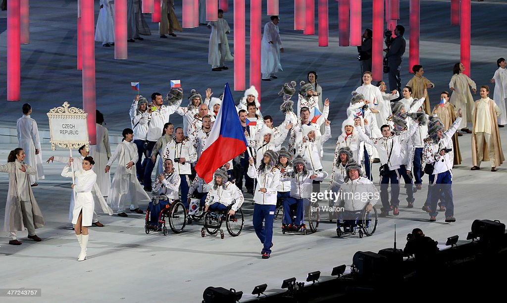 The Czech Republic team enter the stadium during the Opening Ceremony of the Sochi 2014 Paralympic Winter Games at Fisht Olympic Stadium on March 7, 2014 in Sochi, Russia.