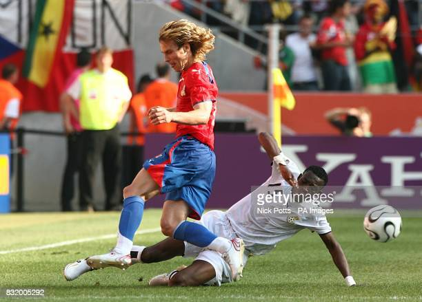 The Czech Republic's Pavel Nedved and Ghana's John Pantsil battle for the ball