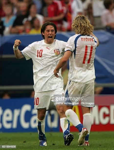 The Czech Republic's Pavel Nedved congratulates goal scorer Tomas Rosicky