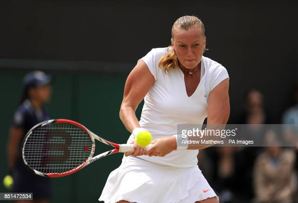 The Czech Republic's Petra Kvitova in action against Spain's Carla Suarez Navarro during day seven of the Wimbledon Championships at The All England...