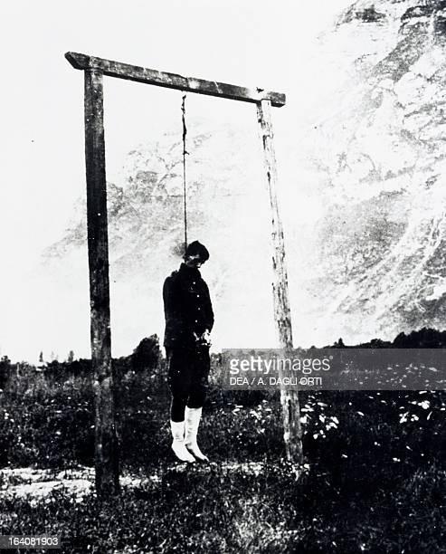 The Czechoslovak Legionnaire Alois Storck hanged by the Austrians in Riva del Garda in the summer of 1918 World War I 20th century Rovereto Castello...