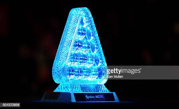The Dafabet Masters Trophy is displayed during Day One of the Dafabet Masters at Alexandra Palace on January 10 2016 in London England
