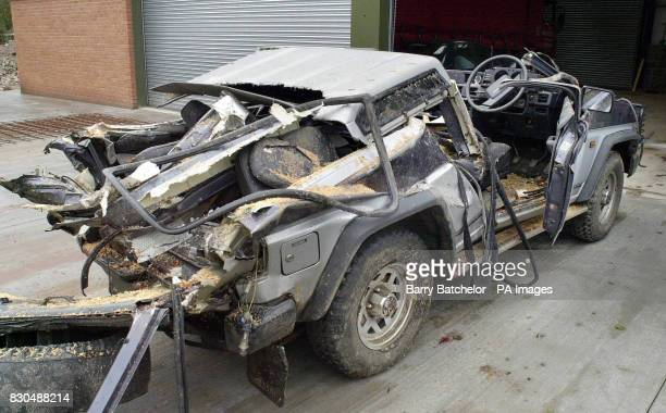 The Daihatsu Fourtrak vehicle that was involved in a fatal accident when a tree fell due to bad weather near Richards Castle near Tenbury Wells...