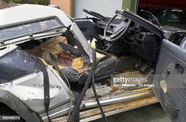 The Daihatsu Fourtrak vehicle which was involved in fatal crash when a weatherbeaten tree fell on it on the B4361 at Richards Castle near Tenbury...