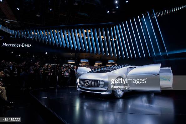 The Daimler AG MercedesBenz F015 concept vehicle is displayed on stage during the 2015 North American International Auto Show in Detroit Michigan US...