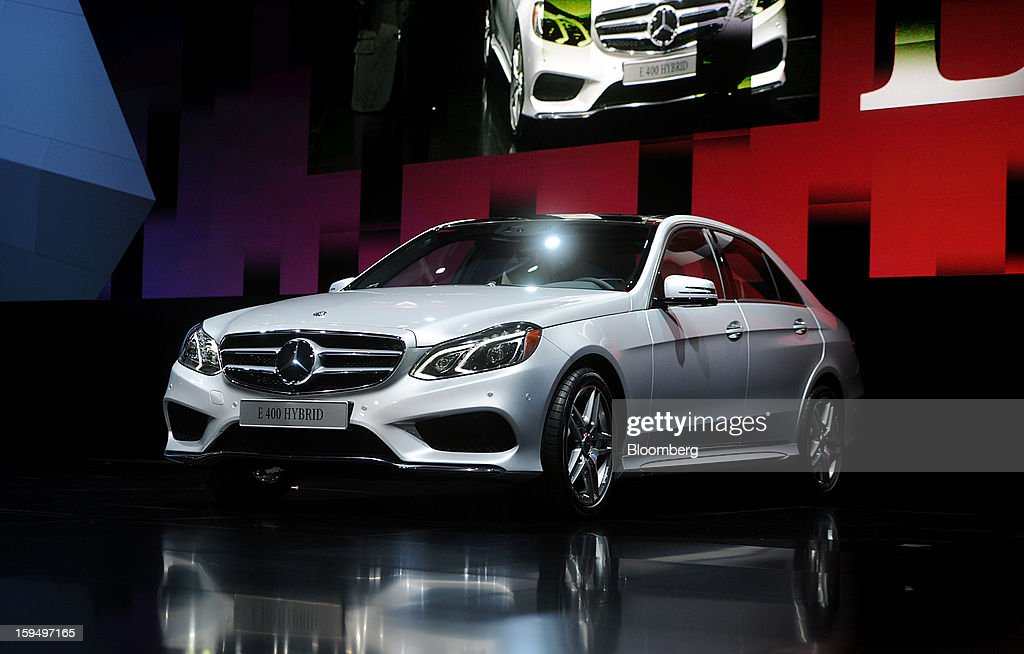 The Daimler AG Mercedes-Benz logo E-400 Hybrid vehicle is displayed during the 2013 North American International Auto Show (NAIAS) in Detroit, Michigan, U.S., on Monday, Jan. 14, 2013. The Detroit auto show runs through Jan. 27 and will display over 500 vehicles, representing the most innovative designs in the world. Photographer: Daniel Acker/Bloomberg via Getty Images