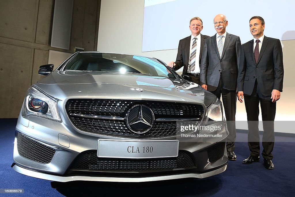 The Daimler Board of Directors Andreas Renschler (L), Bodo Uebber (R), and CEO of Daimler AG, <a gi-track='captionPersonalityLinkClicked' href=/galleries/search?phrase=Dieter+Zetsche&family=editorial&specificpeople=241297 ng-click='$event.stopPropagation()'>Dieter Zetsche</a> (C) are seen during the company's financial performance in 2012 during the Daimler AG, annual press conference on February 7, 2013 in Stuttgart, Germany. Daimler, which manufactures Mercedes-Benz luxury cars, finished in 2012 with its highest business volume of 114.3 Billion Euro since ending its merger with Chrysler in 2007. The group announced a EBIT from ongoing business of 8.6 Billion Euro.