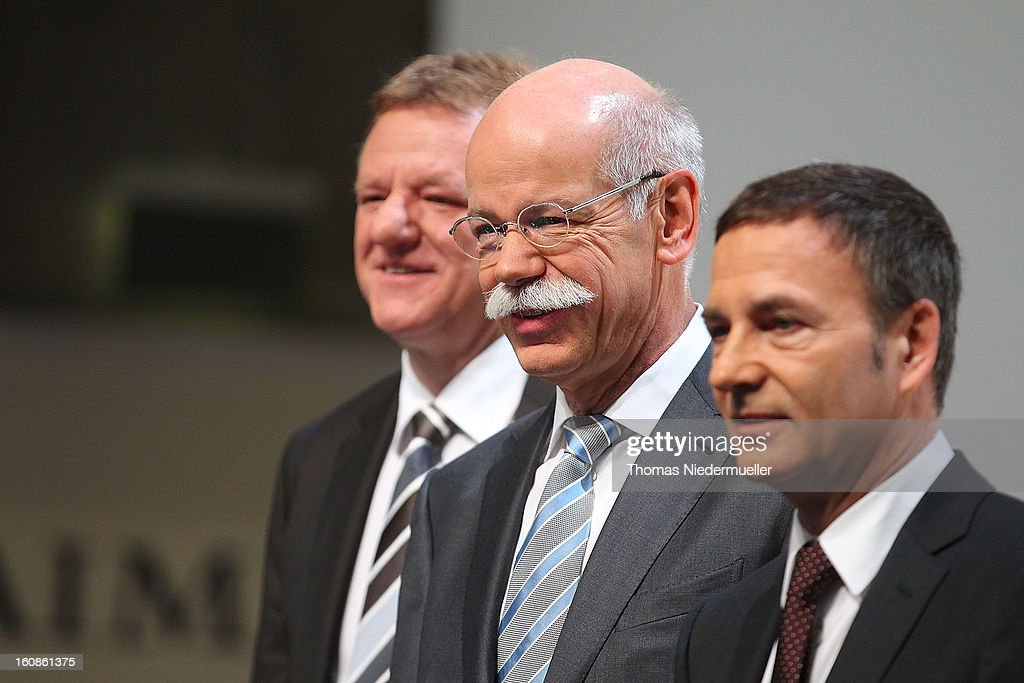 The Daimler Board of Directors Andreas Renschler (L), Bodo Uebber (R), and CEO of Daimler AG, Dieter Zetsche (C) are seen during the company's financial performance in 2012 during the Daimler AG, annual press conference on February 7, 2013 in Stuttgart, Germany. Daimler, which manufactures Mercedes-Benz luxury cars, finished in 2012 with its highest business volume of 114.3 Billion Euro since ending its merger with Chrysler in 2007. The group announced a EBIT from ongoing business of 8.6 Billion Euro.