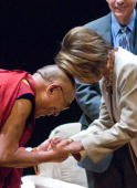 The Dalai Lama and Speaker of the House Nancy Pelosi bow to each other during the International Campaign for Tibet 'Light Of Truth' Awards ceremony...