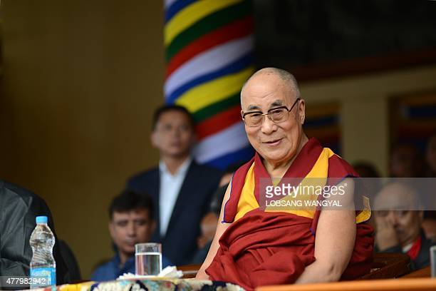 The Dalai Lama attends an event to celebrate his 80th birthday at Tsuglakhang temple in McLeod Ganj on June 21 2015 The Dalai Lama marked his...