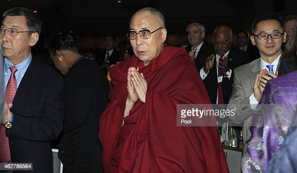 The Dalai Lama attends the National Prayer Breakfast February 5 2015 in Washington DC President Obama reportedly spoke about groups like ISIS...