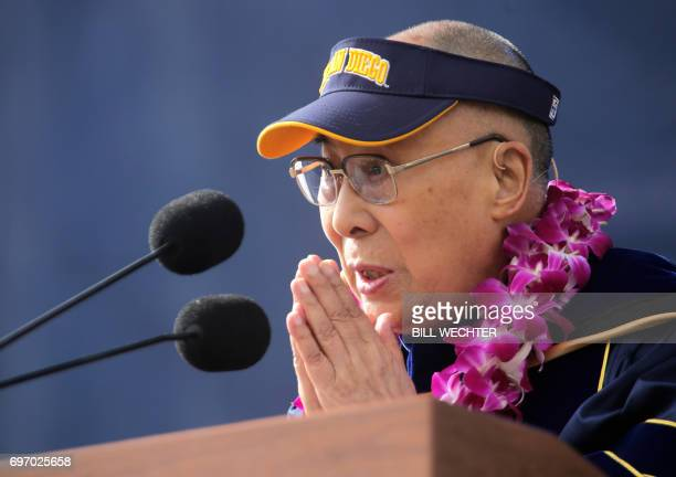 The Dalai Lama delivers the commencement address during graduation ceremonies the University of CaliforniaSan Diego in San Diego California on June...