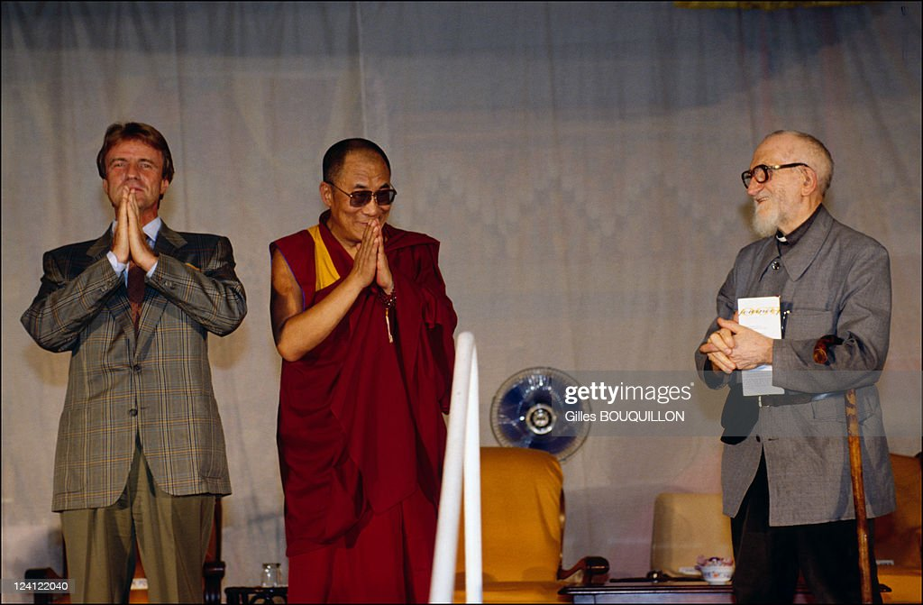 The Dalai Lama In Perigord France On August 251991 With Bernard Kouchner and Abbe Pierre