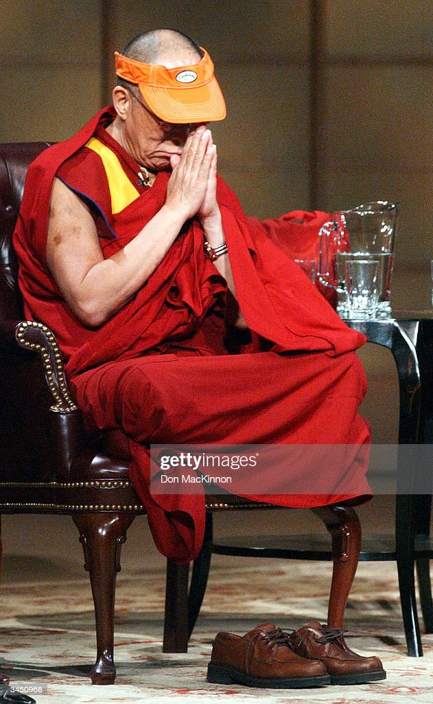 The Dalai Lama is seen at the University of British Columbia April 20, 2004 in Vancouver, British Columbia. Nobel Peace Prize Laureates, His Holiness the 14th Dalai Lama, Archbishop Desmond Tutu and Professor Shirin Ebadi, with Rabbi Zalman Schachter-Shalomi and Dr. Jo-ann Archibald took part in round table dialogue where they discussed balancing educating the mind with educating the heart.
