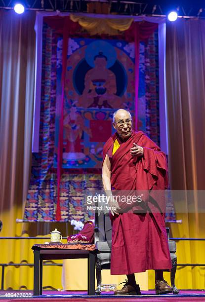 The Dalai Lama is seen on stage on the second day of his threeday visit on 11 May 2014 in Rotterdam Netherlands